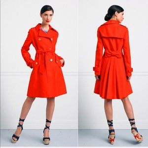 Kate Spade Red/Orange Bow-Back Trench Coat
